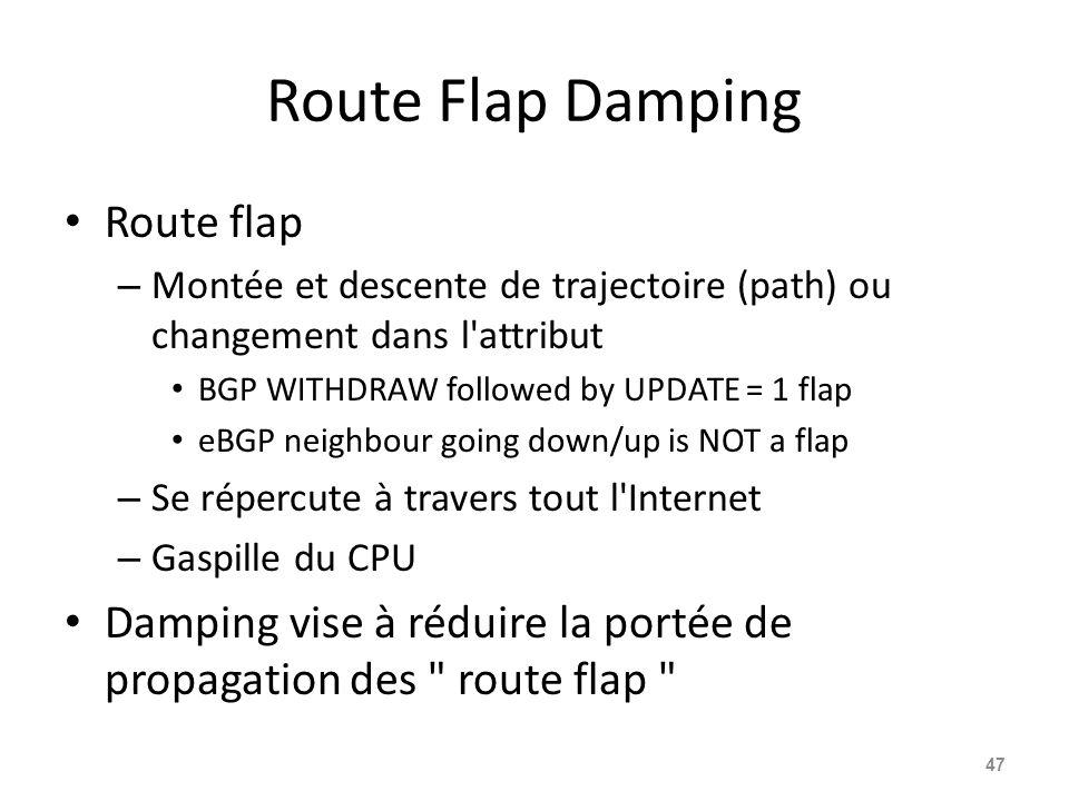 Route Flap Damping Route flap – Montée et descente de trajectoire (path) ou changement dans l'attribut BGP WITHDRAW followed by UPDATE = 1 flap eBGP n
