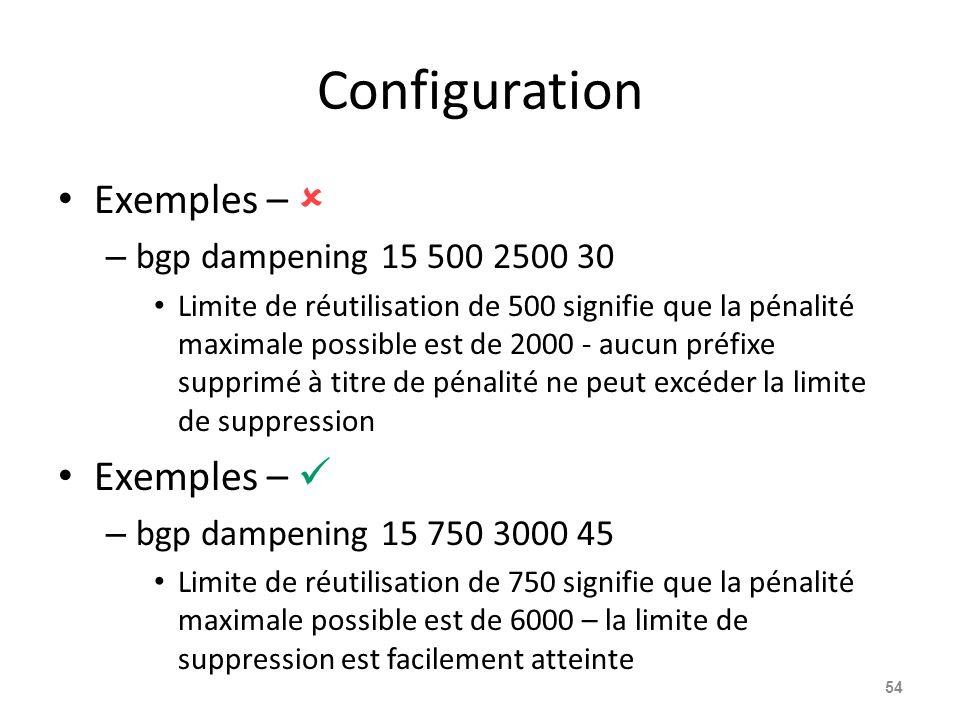 Configuration Exemples –  – bgp dampening 15 500 2500 30 Limite de réutilisation de 500 signifie que la pénalité maximale possible est de 2000 - aucu