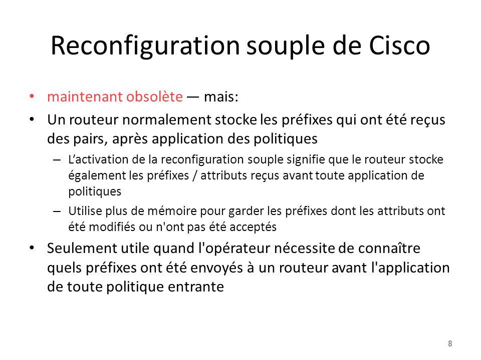 Reconfiguration souple de Cisco maintenant obsolète — mais: Un routeur normalement stocke les préfixes qui ont été reçus des pairs, après application