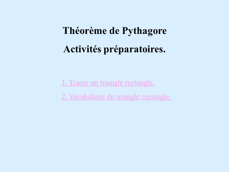 1. Tracer un triangle rectangle. 2. Vocabulaire du triangle rectangle. Théorème de Pythagore Activités préparatoires.