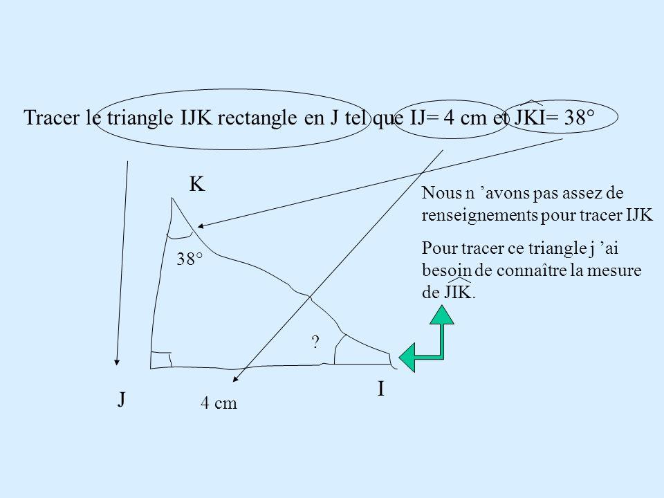 Tracer le triangle IJK rectangle en J tel que IJ= 4 cm et JKI= 38° J I K 4 cm 38° ? Pour tracer ce triangle j 'ai besoin de connaître la mesure de JIK