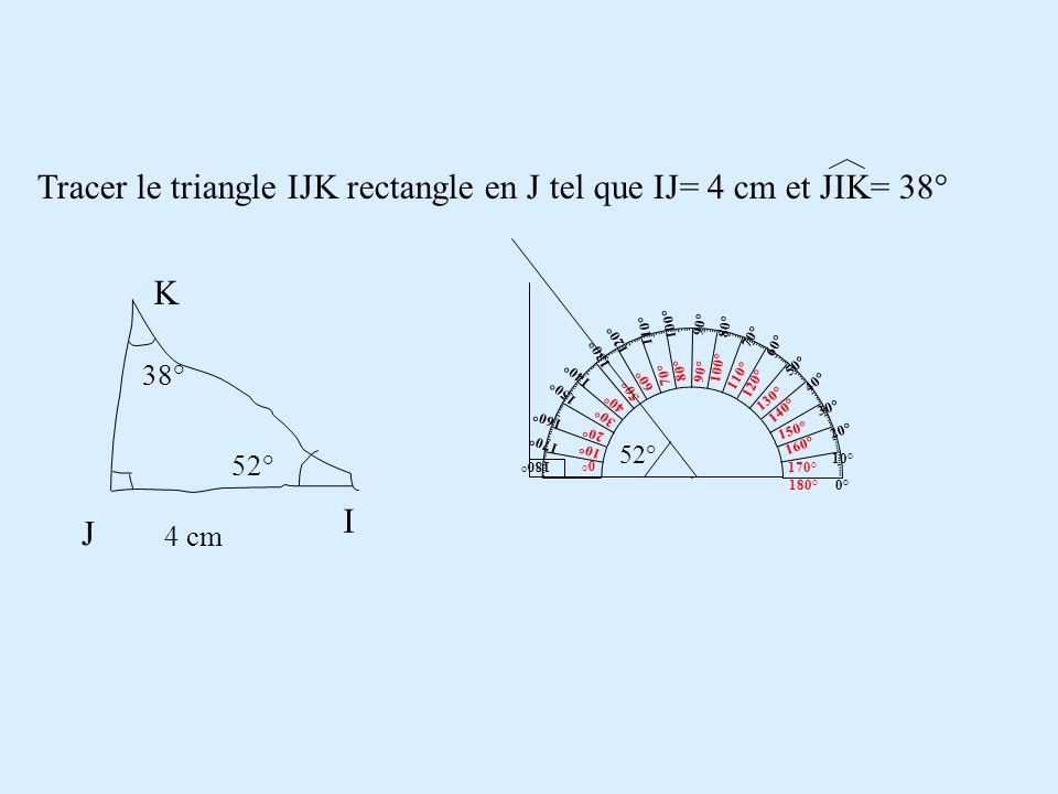 Tracer le triangle IJK rectangle en J tel que IJ= 4 cm et JIK= 38° J I K 4 cm 38° 52° 180° 170° 0° 10° 160° 150° 20° 30° 140° 130° 40° 50° 120° 110° 6