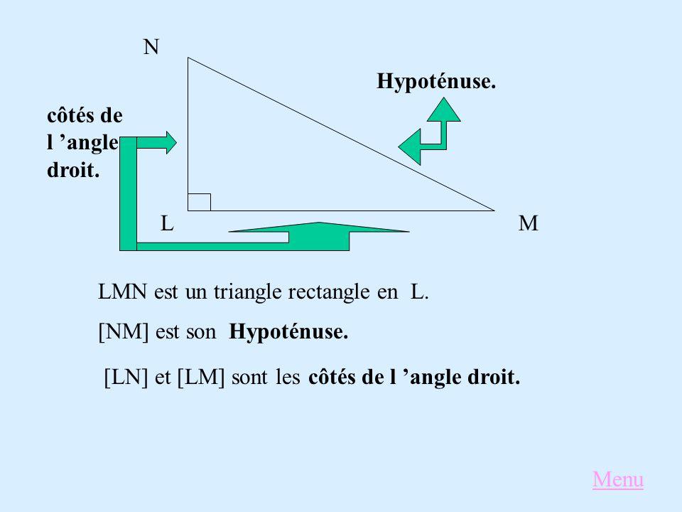 L N M LMN est un triangle rectangle enL. [NM] est sonHypoténuse. [LN] et [LM] sont lescôtés de l 'angle droit. Hypoténuse. côtés de l 'angle droit. Me