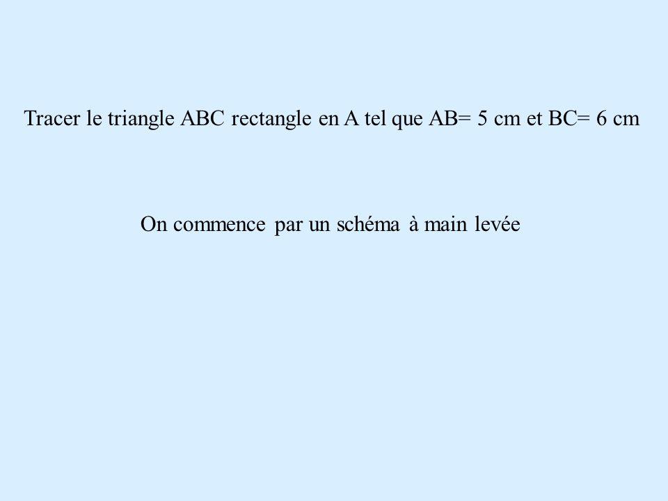Tracer le triangle ABC rectangle en A tel que AB= 5 cm et BC= 6 cm A B C 5 cm 6 cm A l 'aide du schéma on construit la figure demandée.