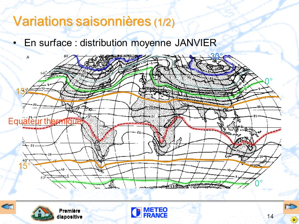 Première diapositive 14 Première diapositive Variations saisonnières (1/2) En surface : distribution moyenne JANVIER Equateur thermique 0° -30° 0° 15°
