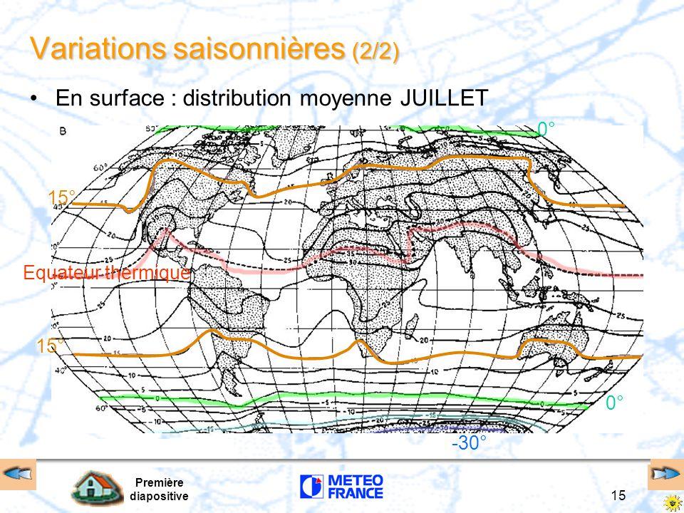 Première diapositive 15 -30° Equateur thermique 0° 15° Variations saisonnières (2/2) En surface : distribution moyenne JUILLET
