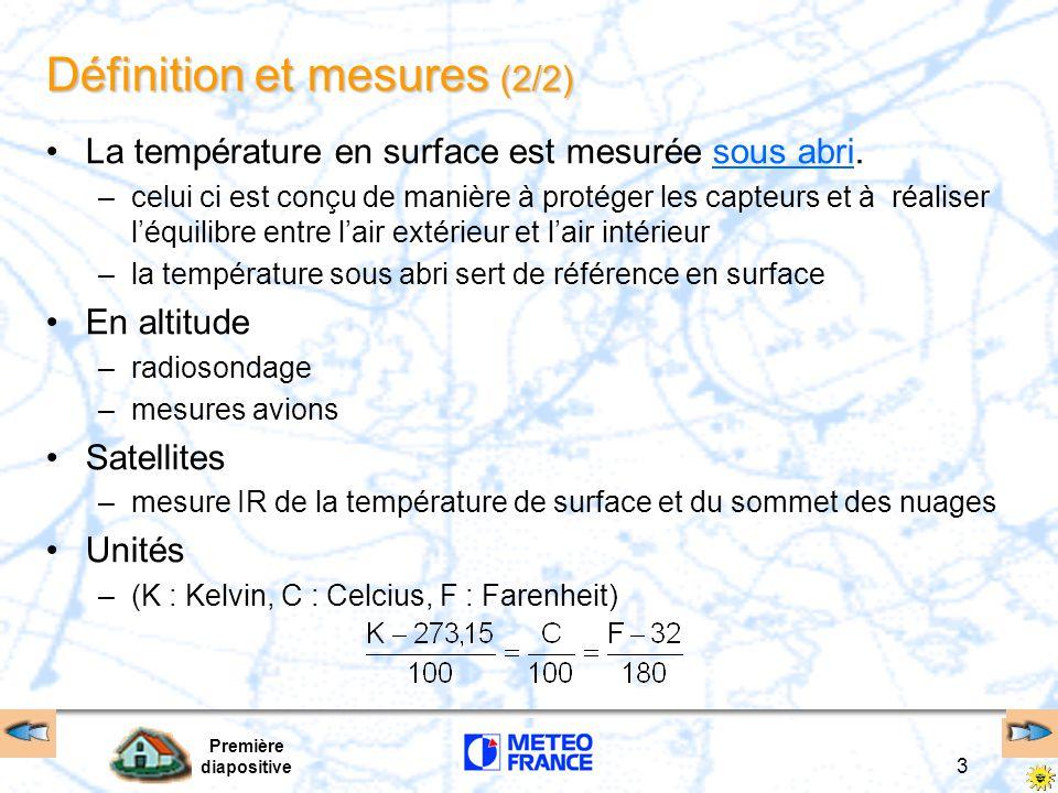Première diapositive 3 Définition et mesures (2/2) La température en surface est mesurée sous abri.sous abri –celui ci est conçu de manière à protéger
