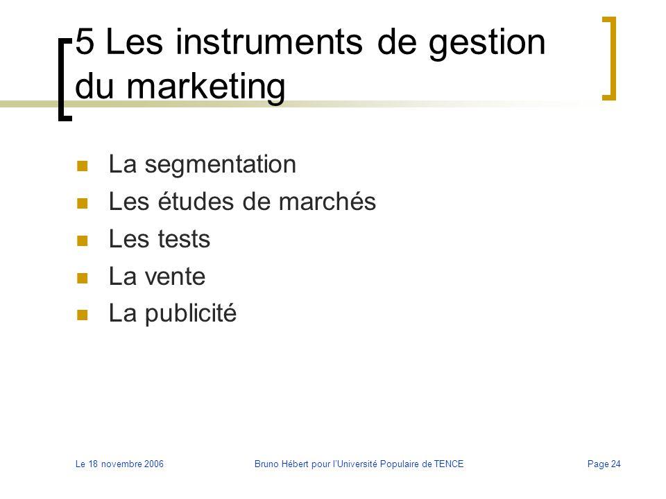 Le 18 novembre 2006Bruno Hébert pour l'Université Populaire de TENCEPage 24 5 Les instruments de gestion du marketing La segmentation Les études de ma