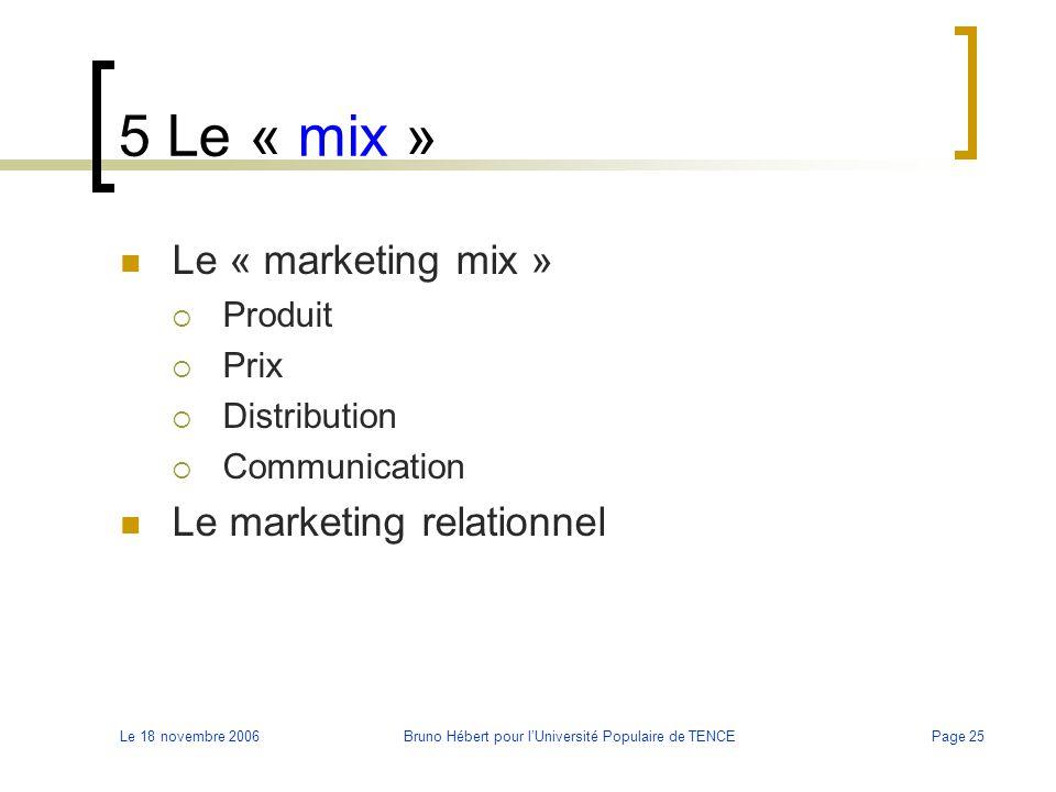 Le 18 novembre 2006Bruno Hébert pour l'Université Populaire de TENCEPage 25 5 Le « mix » Le « marketing mix »  Produit  Prix  Distribution  Commun