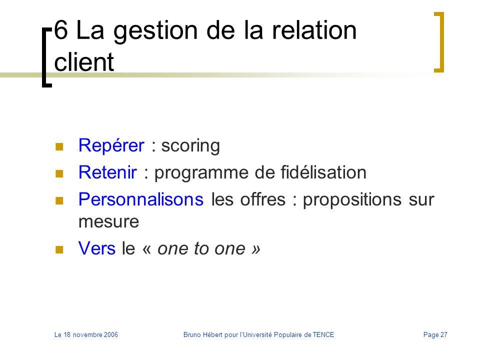 Le 18 novembre 2006Bruno Hébert pour l'Université Populaire de TENCEPage 27 6 La gestion de la relation client Repérer : scoring Retenir : programme d