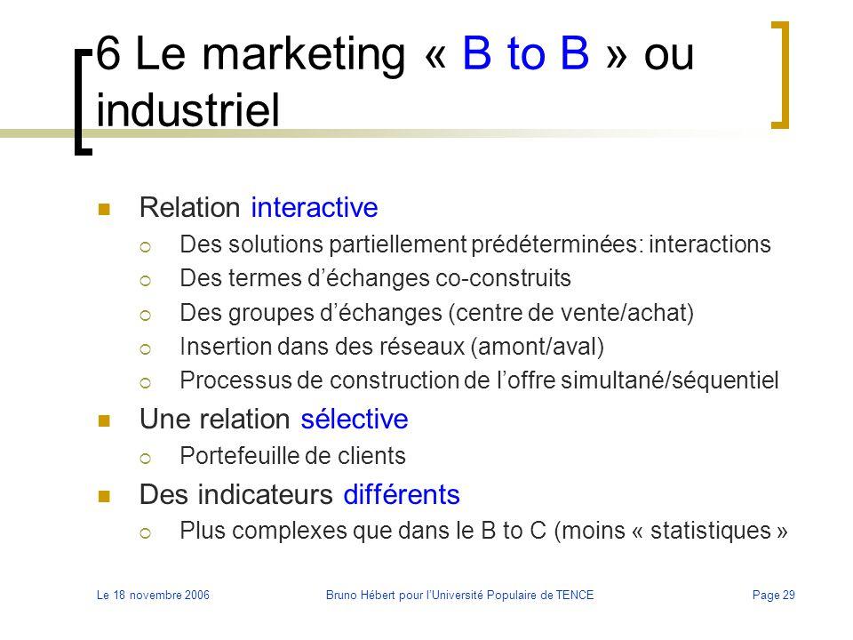 Le 18 novembre 2006Bruno Hébert pour l'Université Populaire de TENCEPage 29 6 Le marketing « B to B » ou industriel Relation interactive  Des solutio