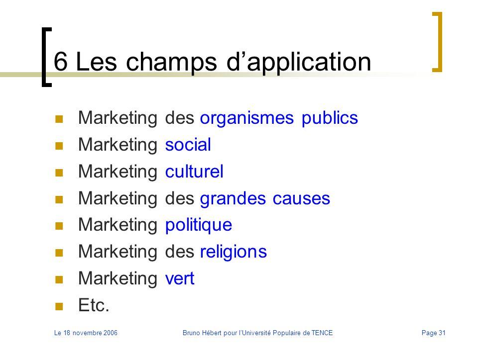 Le 18 novembre 2006Bruno Hébert pour l'Université Populaire de TENCEPage 31 6 Les champs d'application Marketing des organismes publics Marketing soci