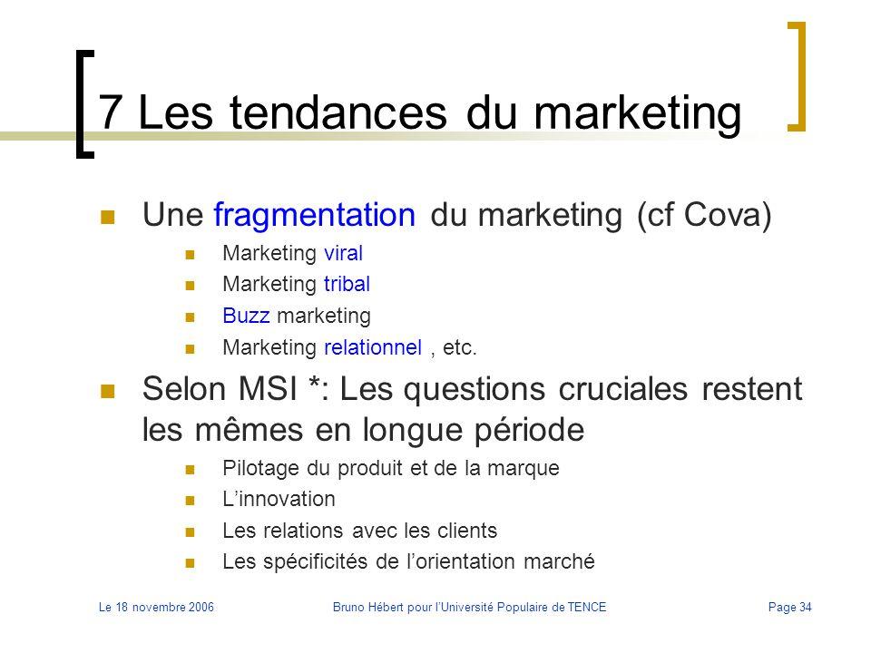 Le 18 novembre 2006Bruno Hébert pour l'Université Populaire de TENCEPage 34 7 Les tendances du marketing Une fragmentation du marketing (cf Cova) Mark