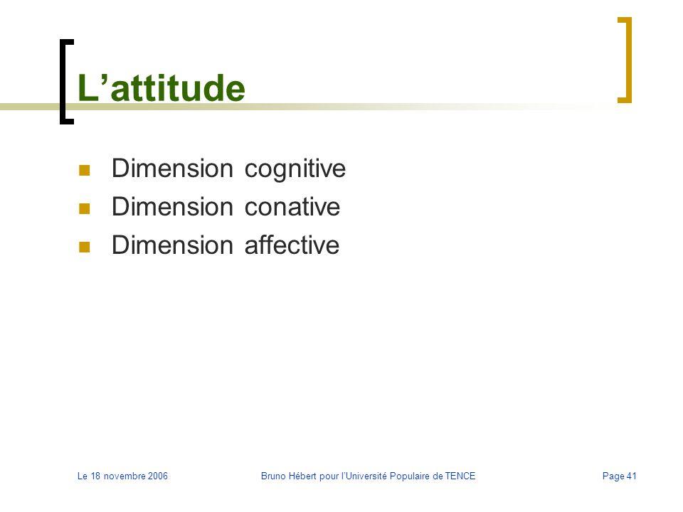 Le 18 novembre 2006Bruno Hébert pour l'Université Populaire de TENCEPage 41 L'attitude Dimension cognitive Dimension conative Dimension affective