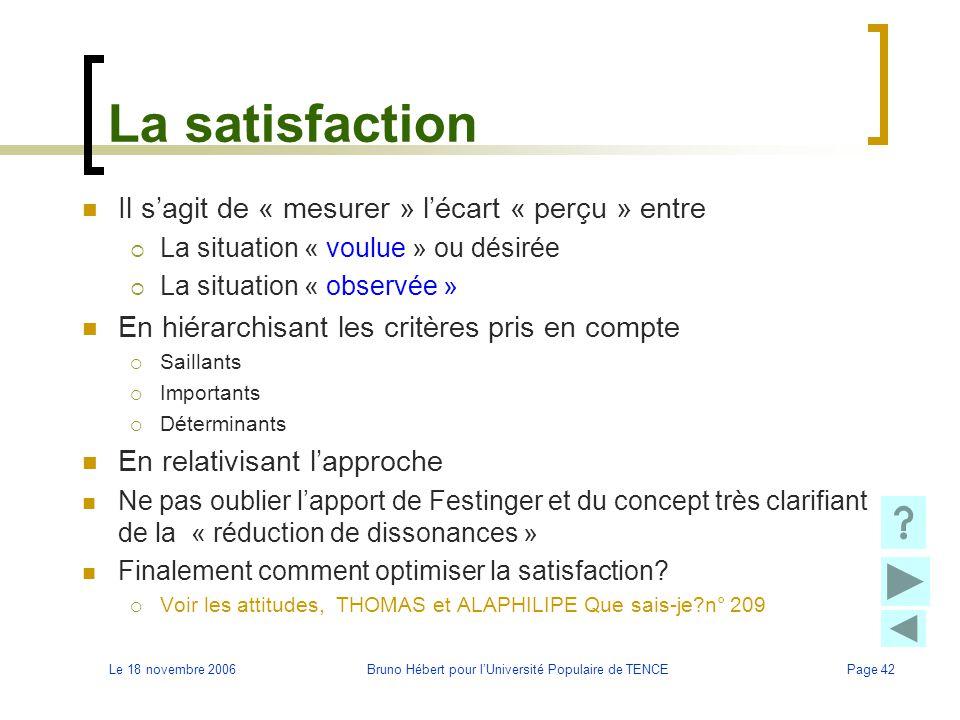 Le 18 novembre 2006Bruno Hébert pour l'Université Populaire de TENCEPage 42 La satisfaction Il s'agit de « mesurer » l'écart « perçu » entre  La situ