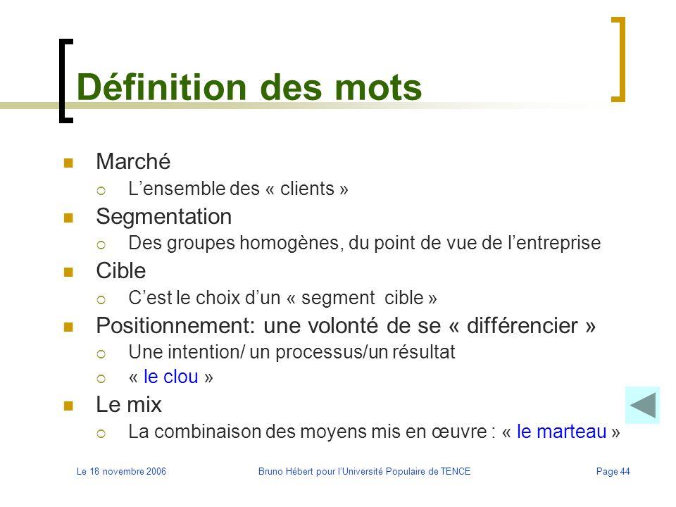 Le 18 novembre 2006Bruno Hébert pour l'Université Populaire de TENCEPage 44 Définition des mots Marché  L'ensemble des « clients » Segmentation  Des
