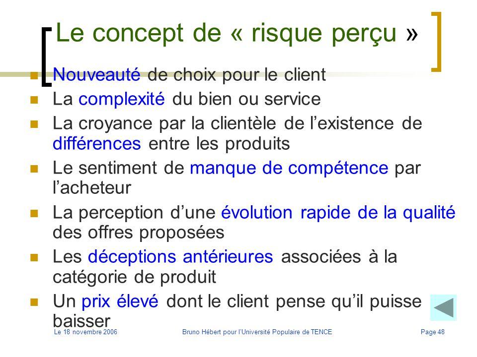 Le 18 novembre 2006Bruno Hébert pour l'Université Populaire de TENCEPage 48 Le concept de « risque perçu » Nouveauté de choix pour le client La comple