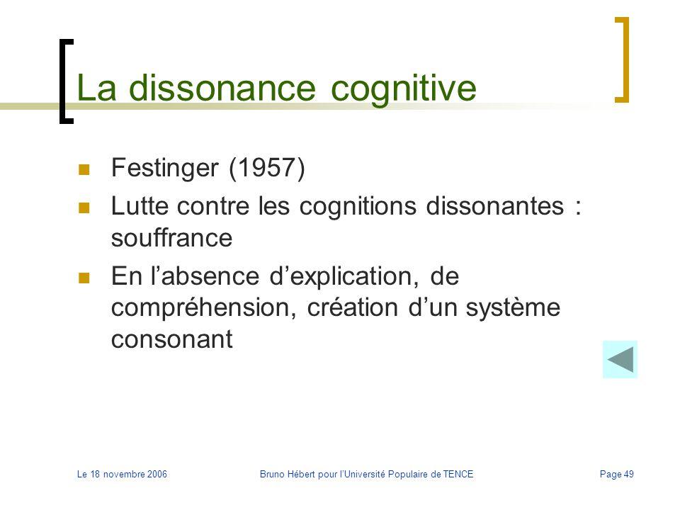 Le 18 novembre 2006Bruno Hébert pour l'Université Populaire de TENCEPage 49 La dissonance cognitive Festinger (1957) Lutte contre les cognitions disso