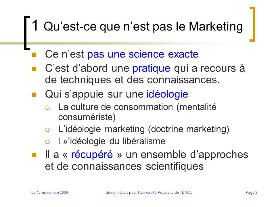 Le 18 novembre 2006Bruno Hébert pour l'Université Populaire de TENCEPage 9 1 Qu'est-ce que n'est pas le Marketing Ce n'est pas une science exacte C'es