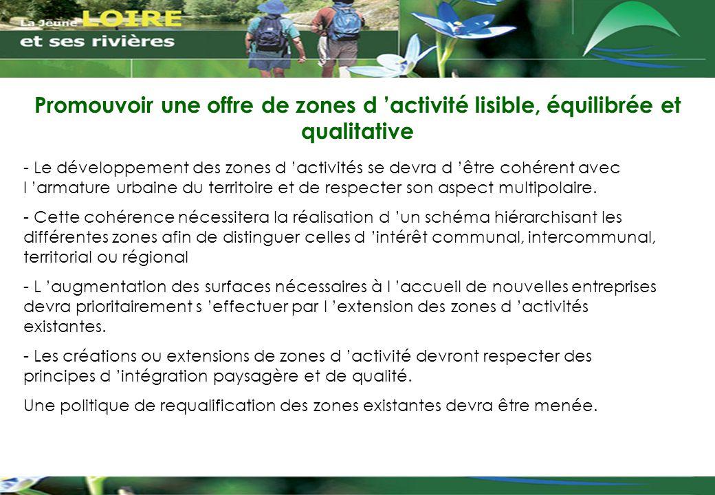 Promouvoir une offre de zones d 'activité lisible, équilibrée et qualitative - Le développement des zones d 'activités se devra d 'être cohérent avec