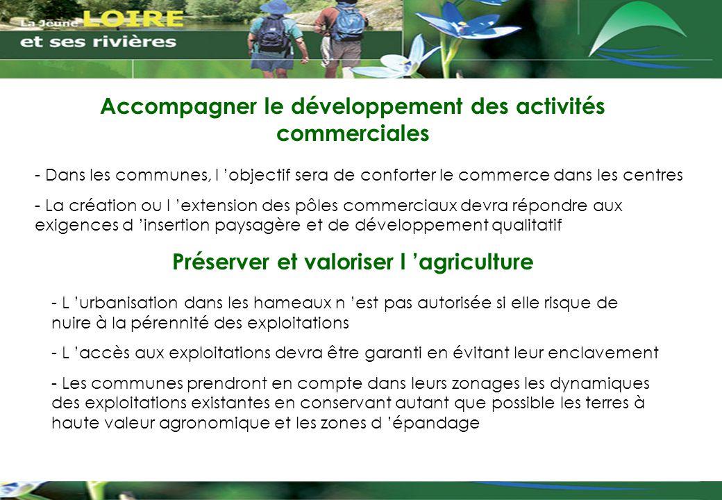 Accompagner le développement des activités commerciales - Dans les communes, l 'objectif sera de conforter le commerce dans les centres - La création