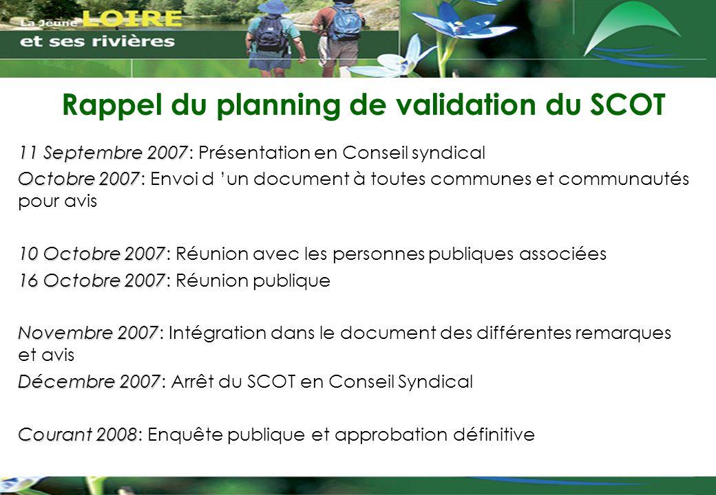 Rappel du planning de validation du SCOT 11 Septembre 2007 11 Septembre 2007: Présentation en Conseil syndical Octobre 2007 Octobre 2007: Envoi d 'un
