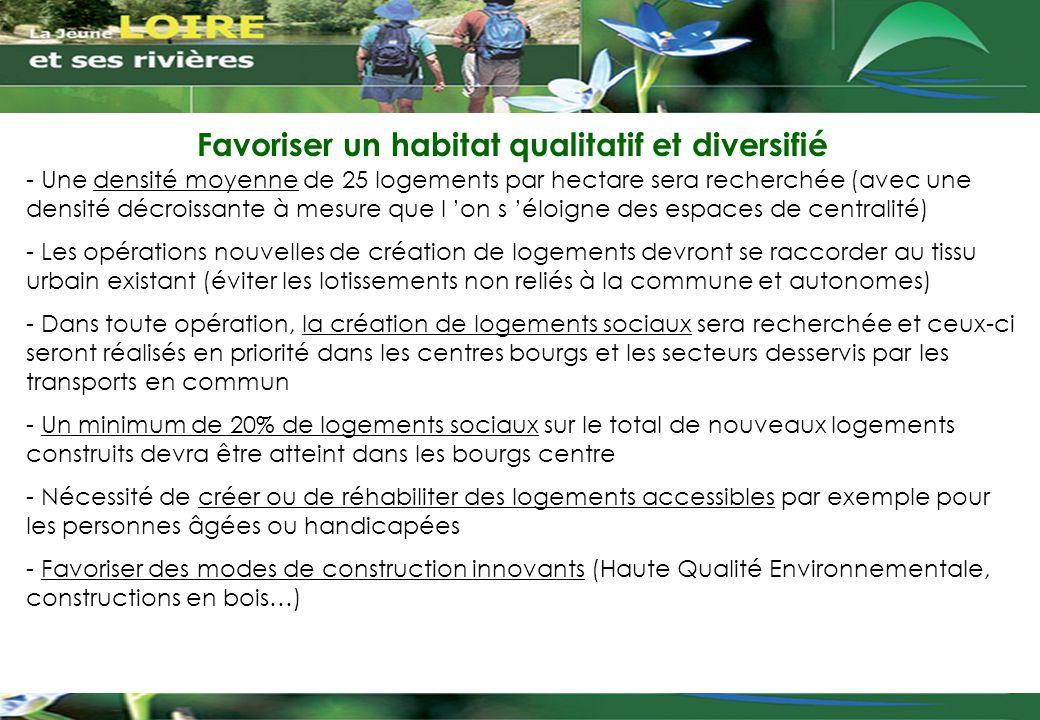 Favoriser un habitat qualitatif et diversifié - Une densité moyenne de 25 logements par hectare sera recherchée (avec une densité décroissante à mesur