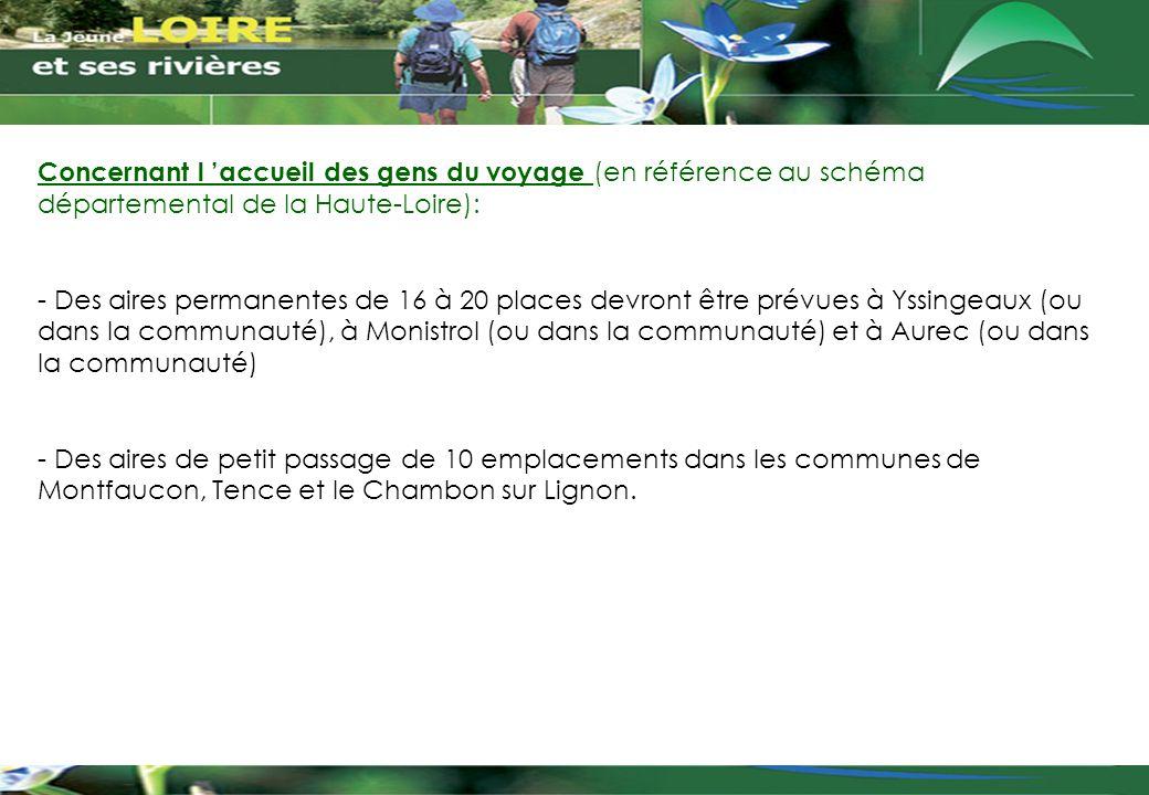 Concernant l 'accueil des gens du voyage (en référence au schéma départemental de la Haute-Loire): - Des aires permanentes de 16 à 20 places devront ê