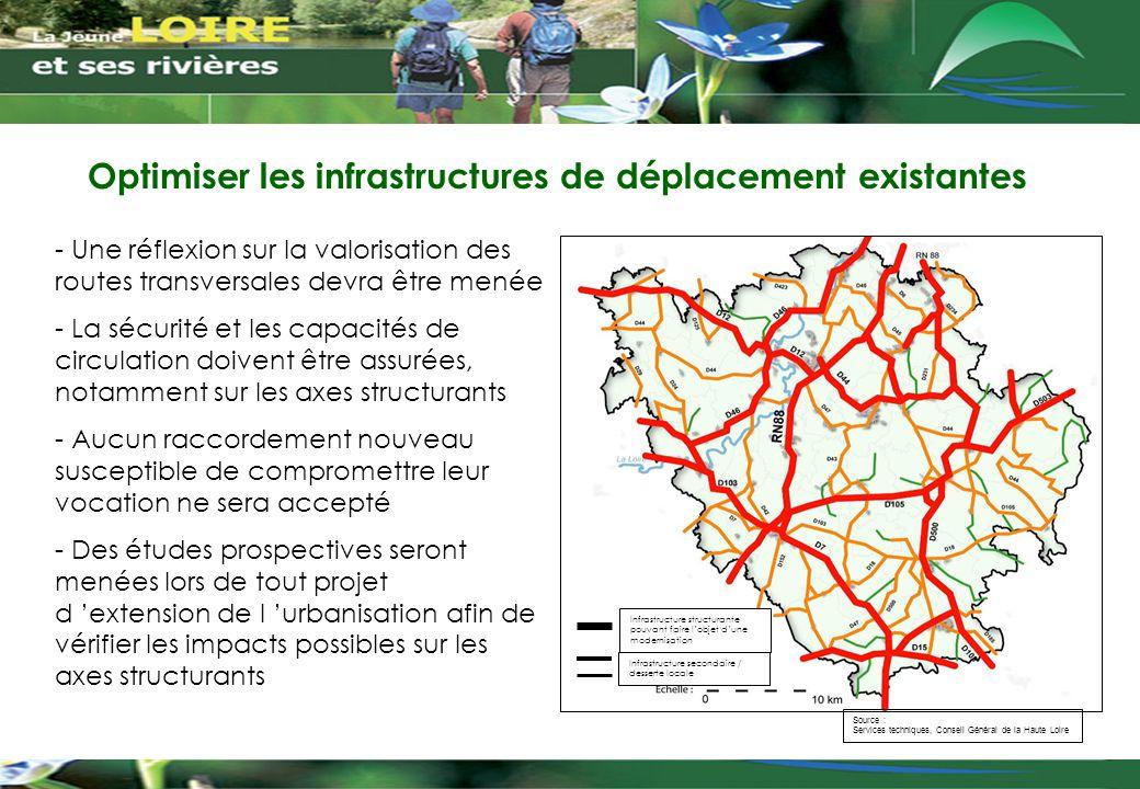 Optimiser les infrastructures de déplacement existantes - Une réflexion sur la valorisation des routes transversales devra être menée - La sécurité et