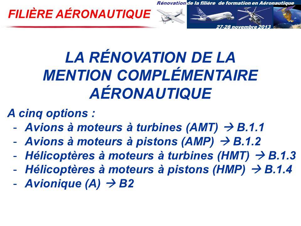 Rénovation de la filière de formation en Aéronautique 27-28 novembre 2013 FILIÈRE AÉRONAUTIQUE LA RÉNOVATION DE LA MENTION COMPLÉMENTAIRE AÉRONAUTIQUE