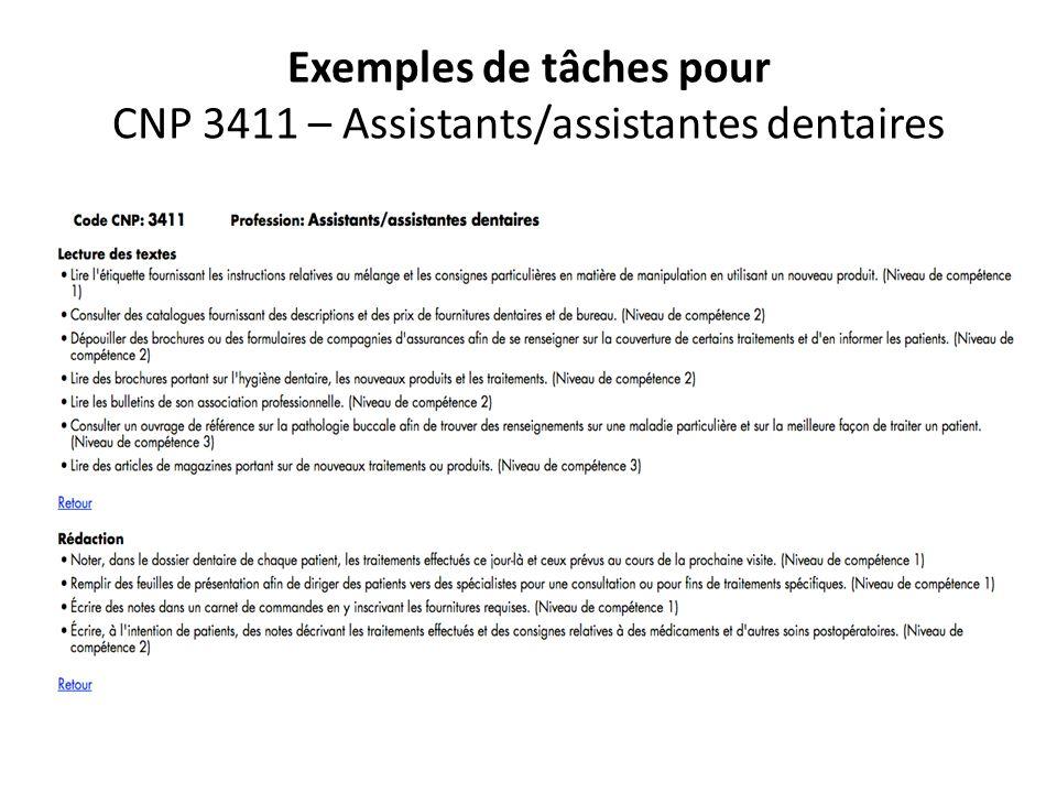 Exemples de tâches pour CNP 3411 – Assistants/assistantes dentaires
