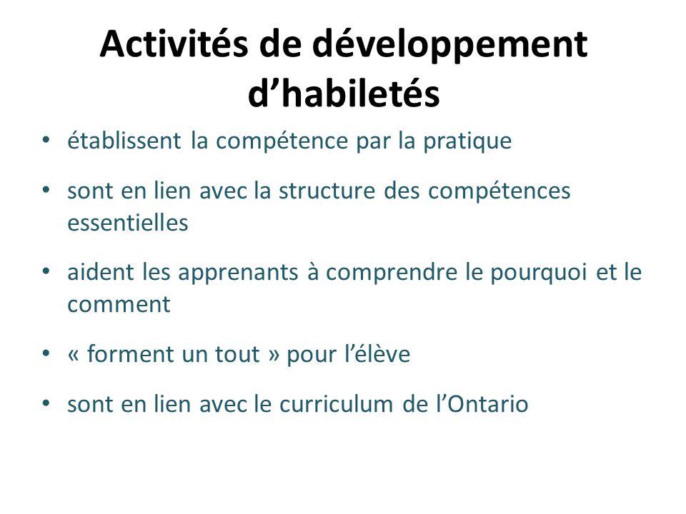 Activités de développement d'habiletés établissent la compétence par la pratique sont en lien avec la structure des compétences essentielles aident le