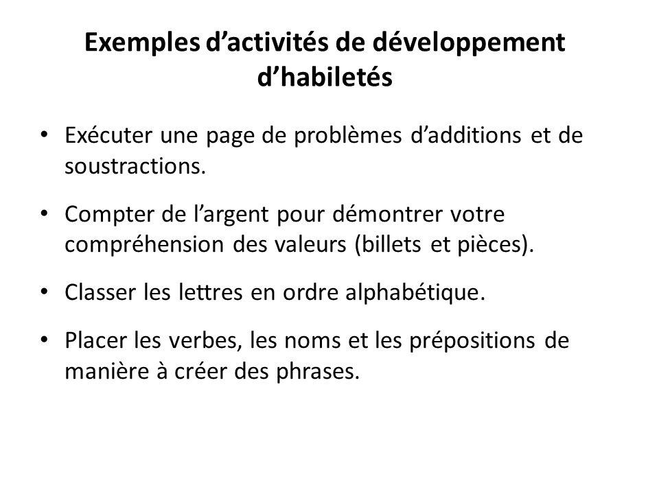 Exemples d'activités de développement d'habiletés Exécuter une page de problèmes d'additions et de soustractions. Compter de l'argent pour démontrer v