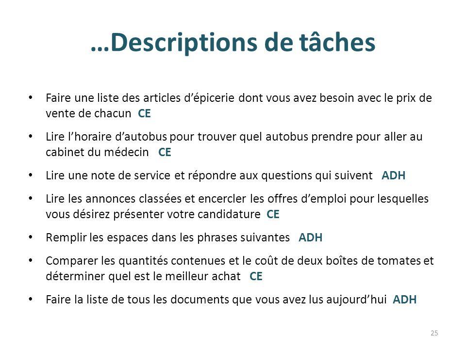 …Descriptions de tâches Faire une liste des articles d'épicerie dont vous avez besoin avec le prix de vente de chacun CE Lire l'horaire d'autobus pour