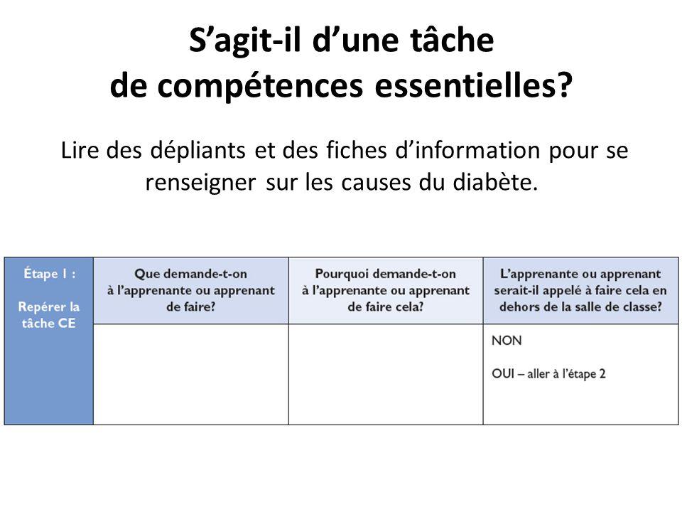 S'agit-il d'une tâche de compétences essentielles? Lire des dépliants et des fiches d'information pour se renseigner sur les causes du diabète.
