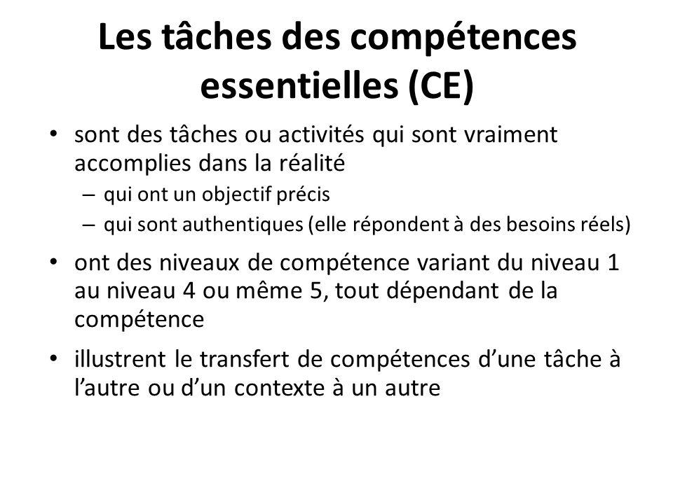 Les tâches des compétences essentielles (CE) sont des tâches ou activités qui sont vraiment accomplies dans la réalité – qui ont un objectif précis –