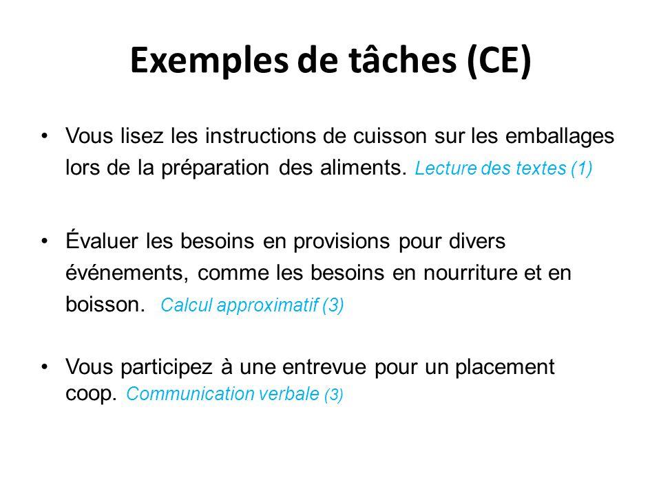 Exemples de tâches (CE) Vous lisez les instructions de cuisson sur les emballages lors de la préparation des aliments. Lecture des textes (1) Évaluer