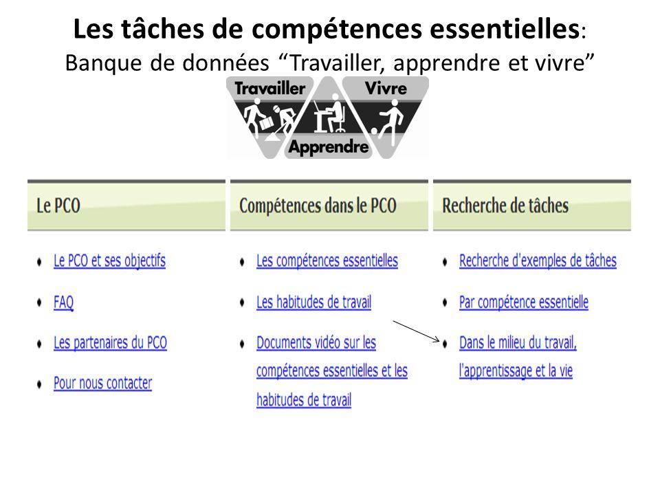 """Les tâches de compétences essentielles : Banque de données """"Travailler, apprendre et vivre"""""""