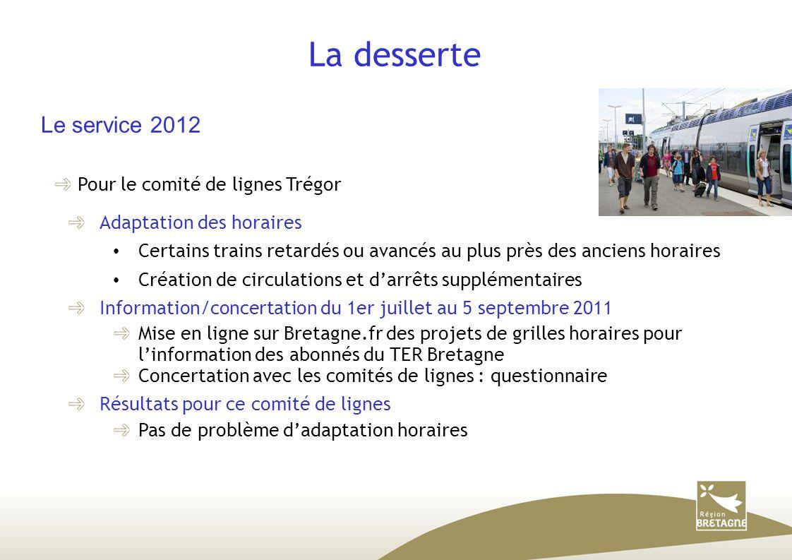 La desserte Le service 2012 Pour le comité de lignes Trégor Adaptation des horaires Certains trains retardés ou avancés au plus près des anciens horai