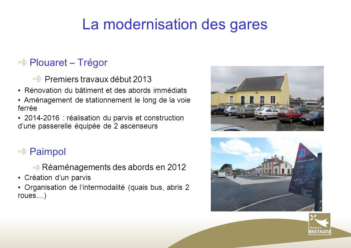 La modernisation des gares Plouaret – Trégor Premiers travaux début 2013 Rénovation du bâtiment et des abords immédiats Aménagement de stationnement l