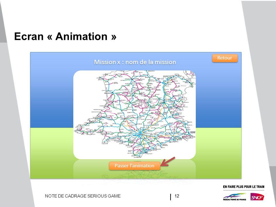 NOTE DE CADRAGE SERIOUS GAME12 Ecran « Animation » Mission x : nom de la mission Passer l'animation Retour