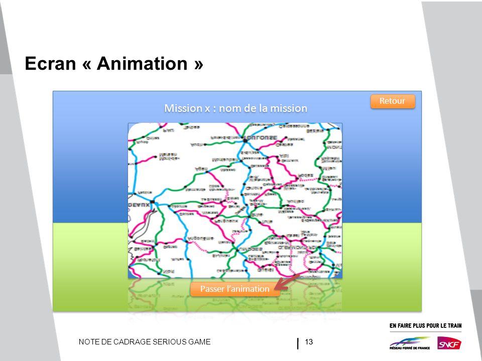 NOTE DE CADRAGE SERIOUS GAME13 Ecran « Animation » Passer l'animation Mission x : nom de la mission Retour