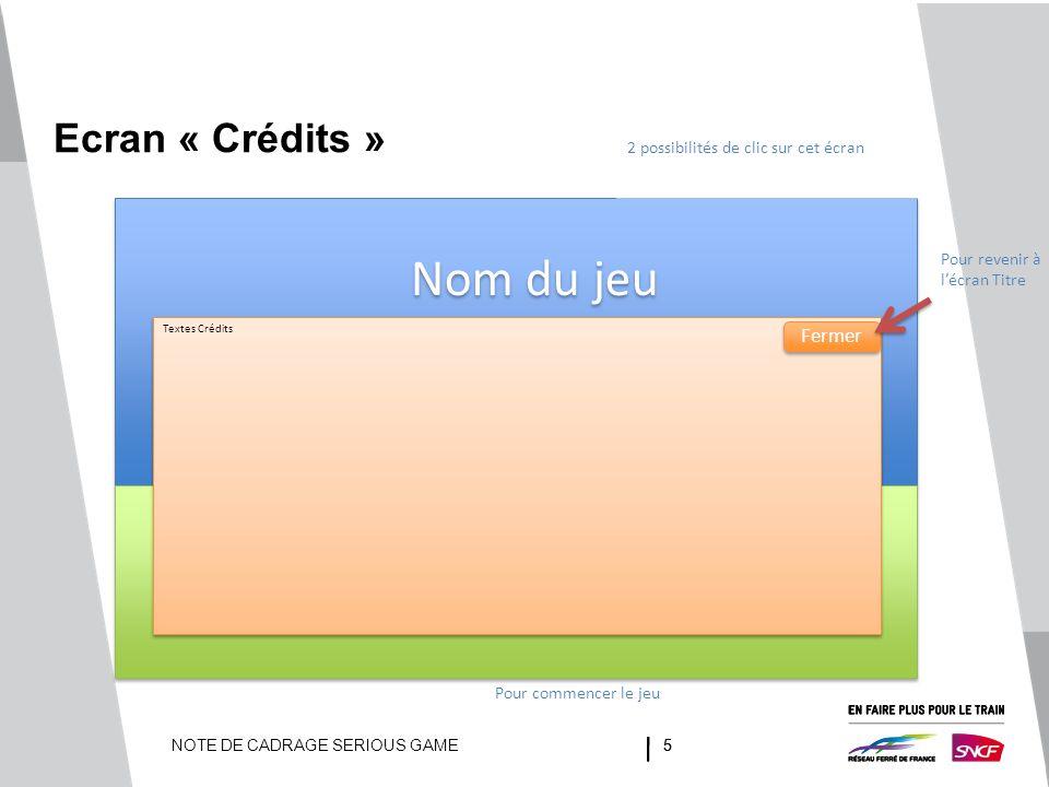 NOTE DE CADRAGE SERIOUS GAME55 Ecran « Crédits » 2 possibilités de clic sur cet écran Pour revenir à l'écran Titre Pour commencer le jeu Textes Crédit