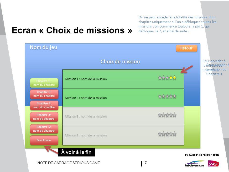 NOTE DE CADRAGE SERIOUS GAME77 Ecran « Choix de missions » Nom du jeu Retour Choix de mission Chapitre 1 : nom du chapitre Chapitre 1 : nom du chapitr
