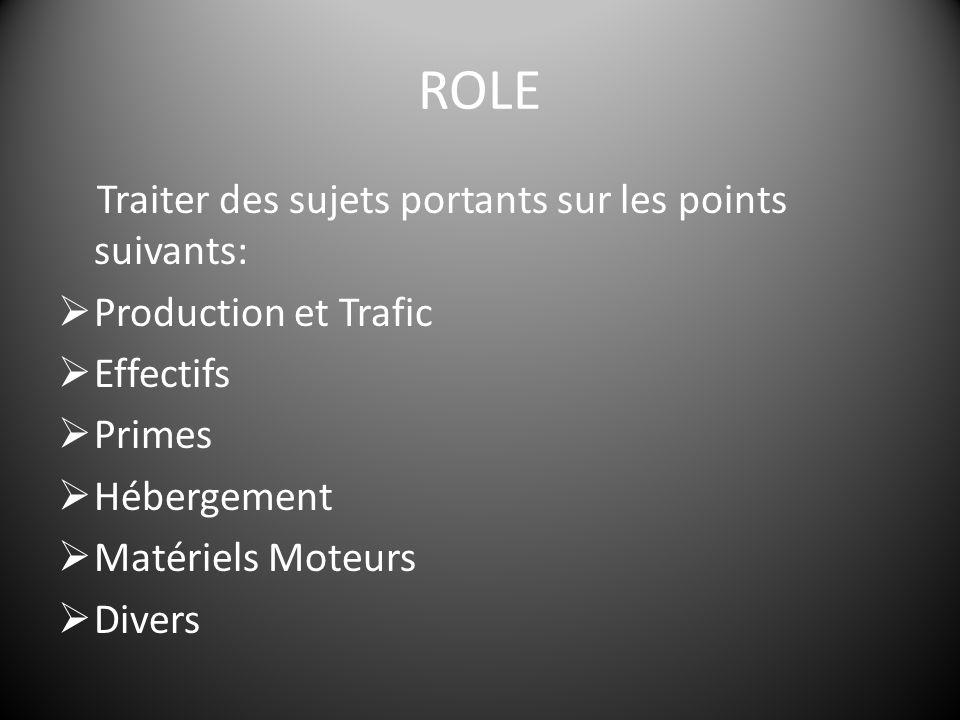 ROLE Traiter des sujets portants sur les points suivants:  Production et Trafic  Effectifs  Primes  Hébergement  Matériels Moteurs  Divers