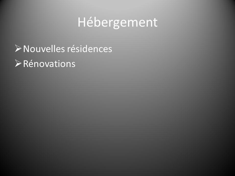 Hébergement  Nouvelles résidences  Rénovations