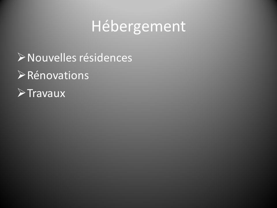Hébergement  Nouvelles résidences  Rénovations  Travaux