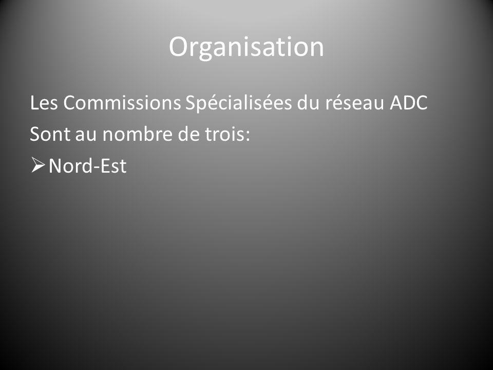 Organisation Les Commissions Spécialisées du réseau ADC Sont au nombre de trois:  Nord-Est