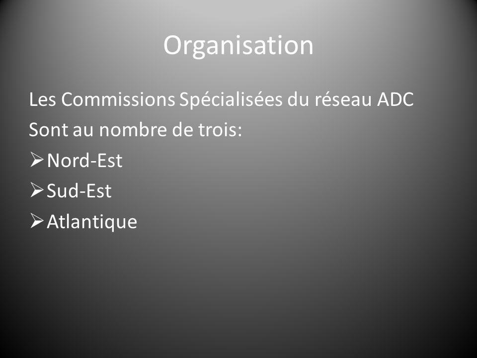Organisation Les Commissions Spécialisées du réseau ADC Sont au nombre de trois:  Nord-Est  Sud-Est  Atlantique