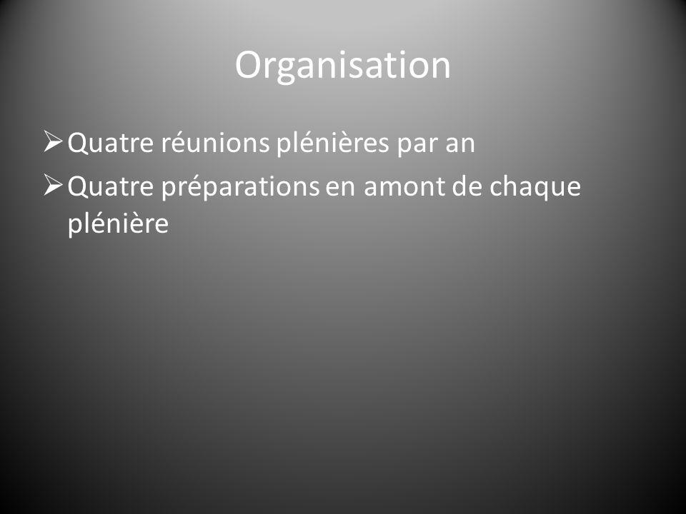 Organisation  Quatre réunions plénières par an  Quatre préparations en amont de chaque plénière